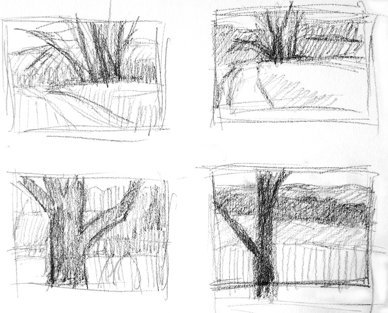 Four gray tonal thumbnail sketches