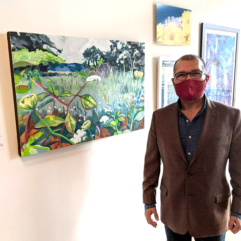 "Me with my painting ""Ending Summer"" at the ""Exhale"" juried show hosted by Art House Productions in Jersey City, NJ"