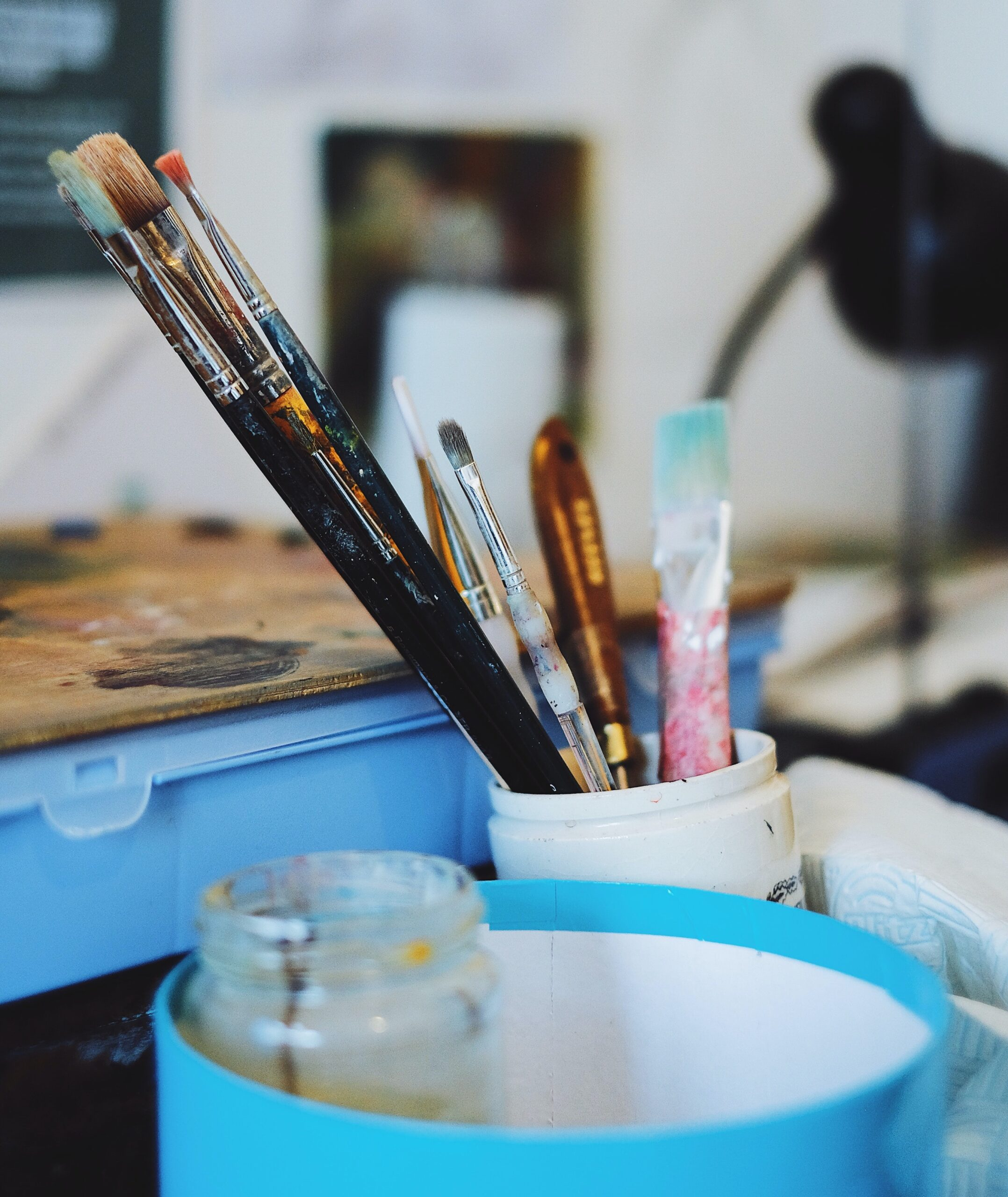 Artist studio with brushes